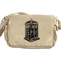Dr Who Messenger Bag Large Tan Canvas Messenger Tardis Police Box