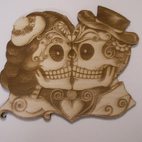 Kissing Couple Sugar Skulls, Laser Cut, Unfinished Wood, Dia de los Muertos, Calavera, Day of the Dead, Woodcrafting Pieces, Wood Ornaments