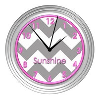 Grey Chevron Wall Clock with Pink Detail - Personalized
