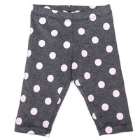 Monnalisa - Baby Girls Pink Polka Dot Leggings, Grey - 18M