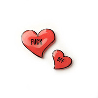 Rude Quote Red Hearts Pin Set, Punk Rock Style
