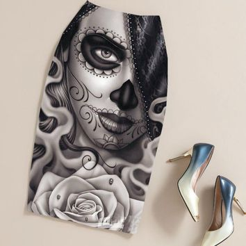 Summer Black Gothic Punk Rock Clothing Pencil Skirt Clothing Vintage Sugar Skull Rose Ladies High Waist Midi Bodycon Skirts