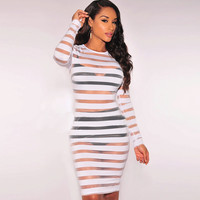 Women's Transparent Sexy See Threw Party O-Neck Bandage Bodycon Casual Dress