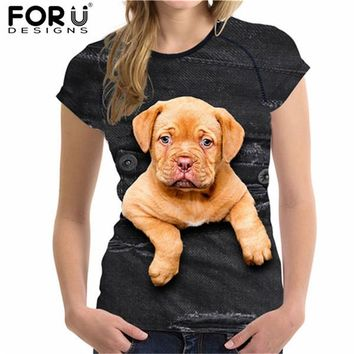Tops and Tees T-Shirt FORUDESIGNS Cute Cat t Shirt for Women Summer Style Short Sleeve Ladies Top Tees 3D Black Denim Pocket Girls T-shirts Ropa Mujer AT_60_4 AT_60_4