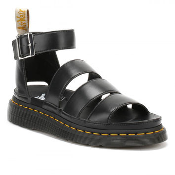 Dr. Martens Womens Black V Clarissa II Chunky 3 Strap Sandals