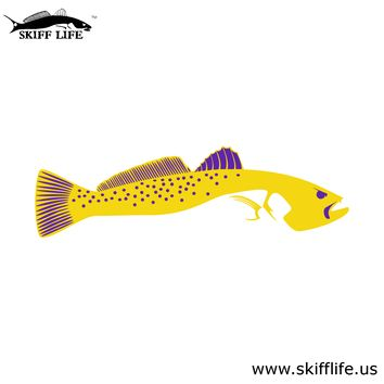 Yellow & Purple Trout Car Decal Stickers