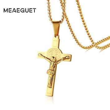 Meaeguet Vintage Crucifix Christ Jesus Cross Necklace Gold-color Stainless Steel  For Men Religious Jewelry Jesus Piece