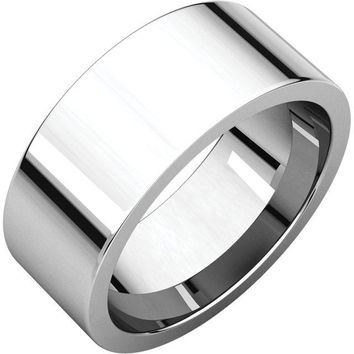 14K X1 White 8mm Flat Comfort Fit Wedding Band Ring - Bridal Jewelry