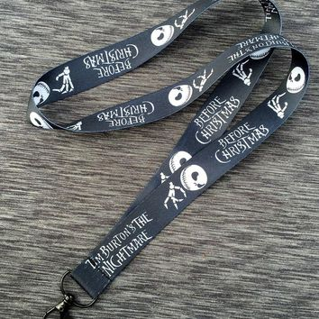 Black The Nightmare Before Christmas Jack Skellington Head Straps Lanyard ID Badge Holders Mobile Neck strap cosplay girls gift