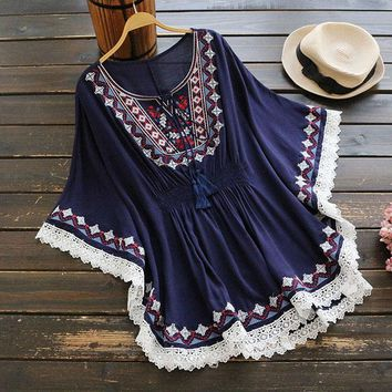 2017 Women's Summer Retro Short Dress Boho Holiday Style Embroidery Cloak Sleeve Chic Loose Dresses Cotton Lace Beach Vestidos