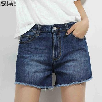 2017 blue High waist denim  Shorts for women  plus size loose jeans 6XL