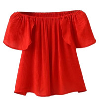 Red Off Shoulder Ruffled Blouse