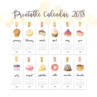 Calendar pages 2018, Monthly calendar 2018, Cute funny wall calendar 2018 printable, Watercolor food calendar 2018, Cake calendar download