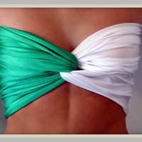 Collegiate Collection MSU Green And White Bandeau Top
