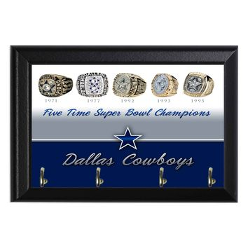 Five Time Super Bowl Champions Dallas Cowboys Geeky Wall Plaque Key Hanger