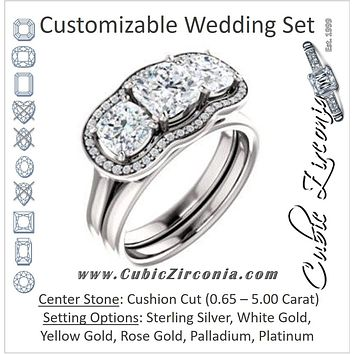 CZ Wedding Set, featuring The Aimi Namiko engagement ring (Customizable 3-stone Design with Cushion Cut Center, Large Round Cut Accents, Triple Halo and Bridge Under-halo)