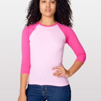 Pink 3/4 Sleeve Raglan Tee | 70's Style Baseball Shirt - American Apparel - Discontinued Items - ViciousStyle.com Online Clothing Store