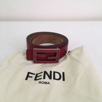 CREY1O New Mens Fendi Red/Burgundy Belt Sz 105/42 100% Authentic or Money Back