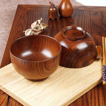 natural jujube wooden bowl,Japanese style Chinese bailer soup noodles wood salad