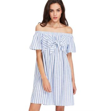 Sexy Off Shoulder Women Summer Dress Ladies Casual Stripe Short Sleeve Bow Mini Dress Party Dresses vestidos