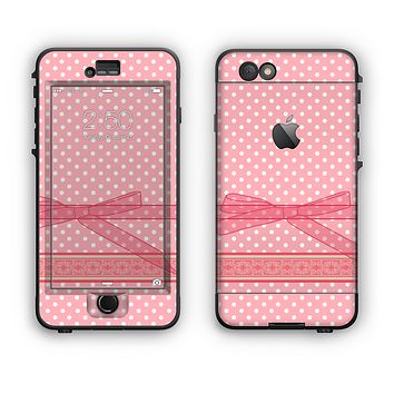 The Subtle Pink Polka Dot with Ribbon Apple iPhone 6 Plus LifeProof Nuud Case Skin Set