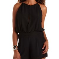 Black Chiffon Halter Romper by Charlotte Russe