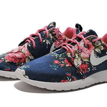 custom nike free roshe run sneakers athletic women shoes with print fabric flowers,cry