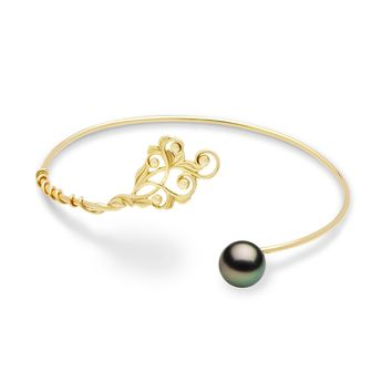 Hawaiian Heirloom Tahitian Black Pearl Bracelet in 14K Yellow Go b675ad48f