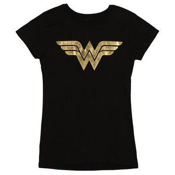 Wonder Woman Gold Foil Logo DC Comics Licensed Womens Junior Black T-Shirt