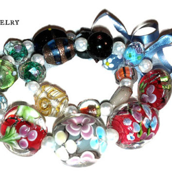Beads 36 Ct ; Jewelry Supplies, High Quality, Beautiful, LampWork Beads, Crystal  Pearl Spacers,