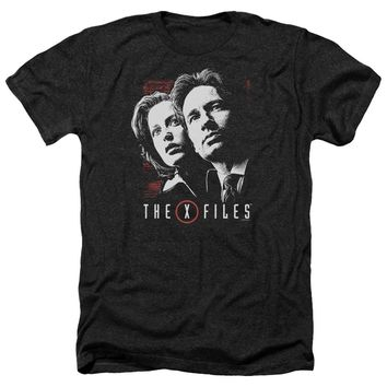 X Files - Mulder & Scully Adult Heather Officially Licensed T-Shirt Short Sleeve Shirt