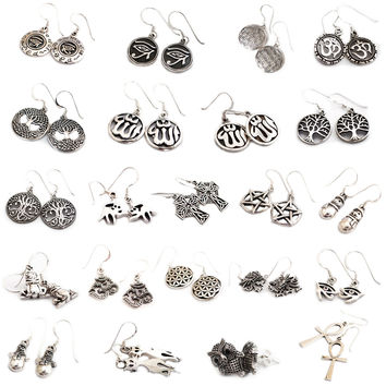 92.5 Sterling Silver Earrings Symbols Danglers Jewelry
