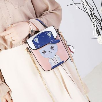 Personality character Small Women Leather Chain Top-Handle Handbags Purse Ladies Girls Shoulder Crossbody Tote Cute Cat Bag