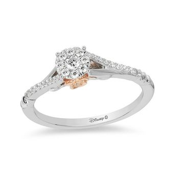 Enchanted Disney Belle 1/5 CT. T.W. Diamond Frame Promise Ring in 10K Two-Tone Gold|Zales