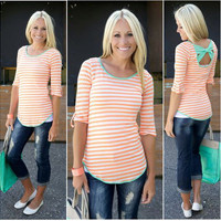 Orange Striped Back Bow Pattern T-Shirt