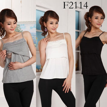 NWT Mummy Maternity Breastfeeding Nursing Lace Modal Soft Camisole Top Size S 7Colors = 1945698692