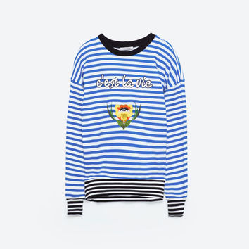 STRIPED SWEATSHIRT WITH PATCHES DETAILS