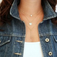 PEAPIX3 Women Chic Geometry Charms Crystal  3 Layers Chain Fashion Necklace = 1945727940