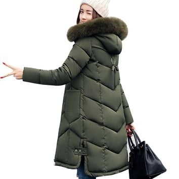 bf95fe4742ef8 Women jackets 2017 Fur Hooded Jacket for women Padded Cotton Dow. Cidnees  winter collection ❄