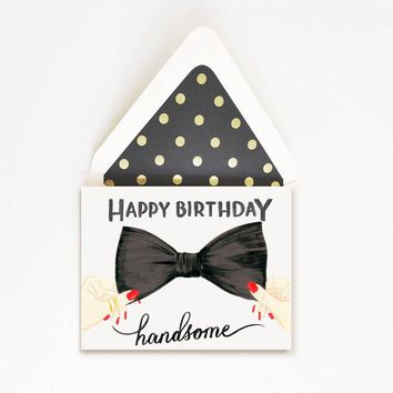 THE FIRST SNOW HAPPY BIRTHDAY HANDSOME BOW TIE CARD