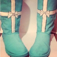 Hand painted Tiffany co ugg Swarovski Tiffany blue boots flats toms