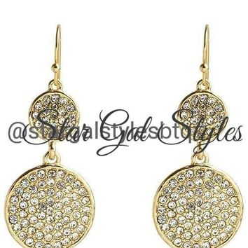 Gold Double Disc Crystal Studded Dangle Earrings