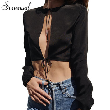 Simenual Hot sale spring summer t shirt women crop top cut out sexy hot strappy fashion t-shirts cropped tops base female shirt