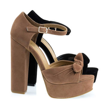 Tournament6 Camel Beige By Bamboo, Retro Open Toe Chunky Block Heel Sandal On Platform & Ankle Strap