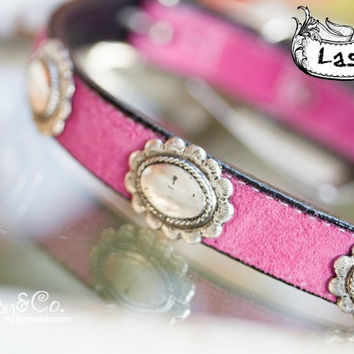 Pink Suede Vintage Dog Collar