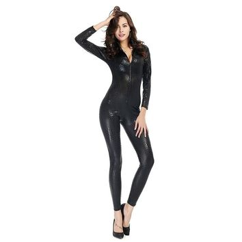 Sexy Lingerie Women Snakeskin Catsuit with Zipper Costume Faux Leather Clubwear Superwomen Cosplay Latex Bodysuit