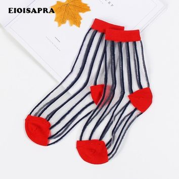 [EIOISAPRA]Transparent Crystal Silk Women Elastic Striped Socks Spring Summer New Product Absorb Sweat Breathable Meias Sox
