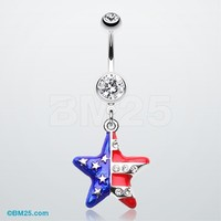 The American Star Flag Belly Button Ring