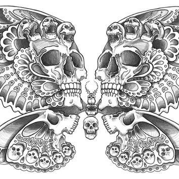 Skull Butterfly Art Print by HOWL.shop