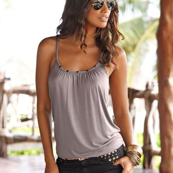 Summer Women's Fashion Slim Spaghetti Strap Tops [7767264711]